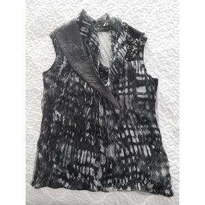 Yigal Azrouel silk beaded gray statement blouse